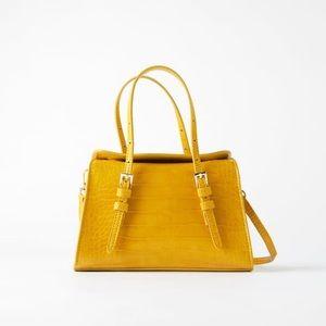 Zara mustard yellow flap mini city bag